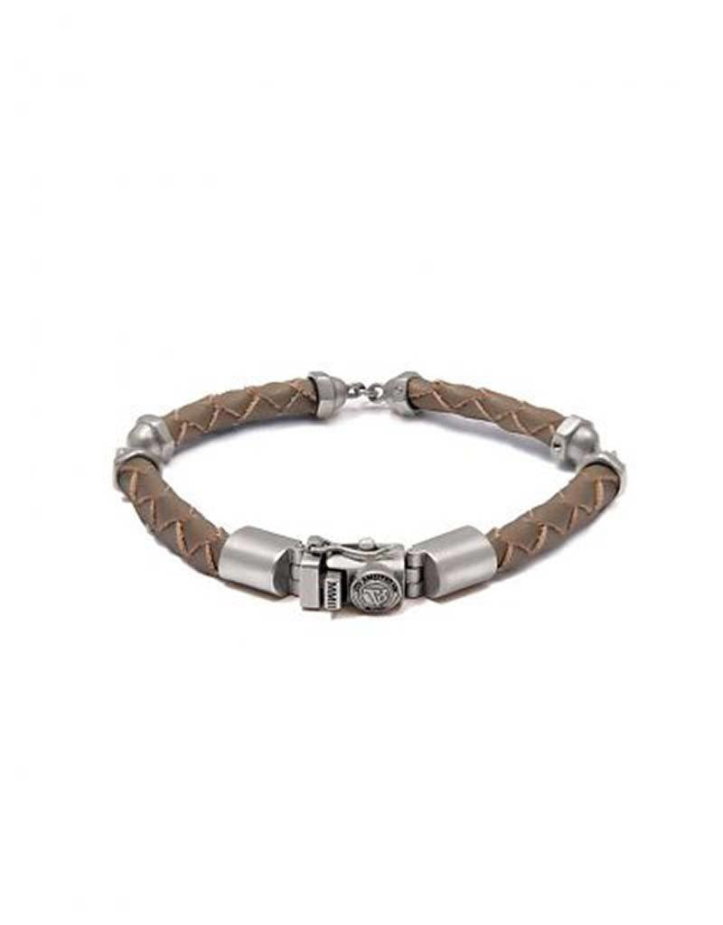 TOV MEN TOV Amsterdam - 005.7.007.048S - Size S -  THE SCREW YOU BRACELET - TAUPE - SILVER PLATED