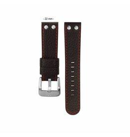 TW Steel TWB28 22mm leren horlogeband zwart met rode stiksels