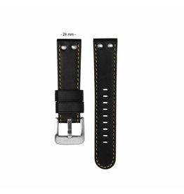 TW Steel TWB671  24 mm horlogeband zwart leer met gele stiksels