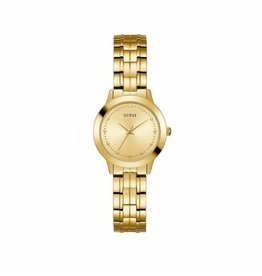 Guess Guess W0989L2 horloge dames staal goldplated met idem band en gouden wijzerplaat