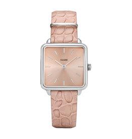 Cluse Cluse CL60019 horloge La Trétragone Silver/ Soft Almond Alligator