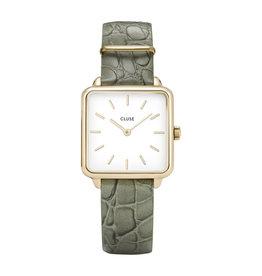 Cluse Cluse CL60016 horloge La Tétragone Gold white/ Green alligator