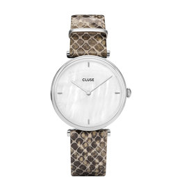 Cluse Cluse CL61009 horloge Triomphe Silver white pearl/soft grey python