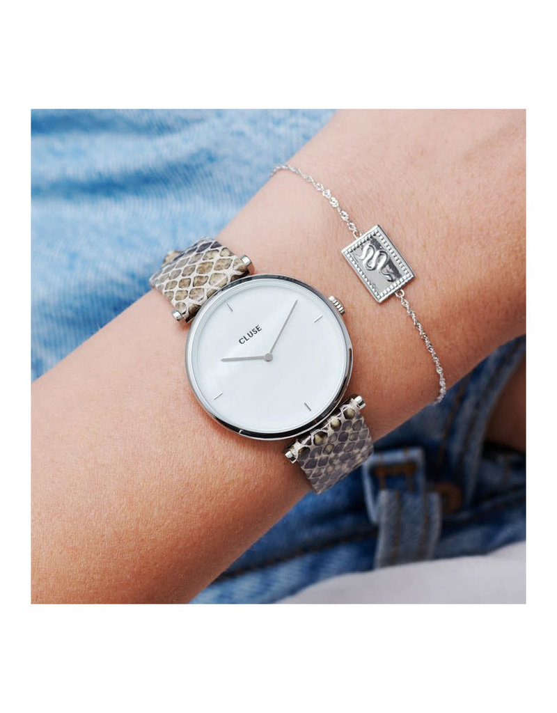 Cluse CL61009 horloge Triomphe Silver white pearl/soft grey python