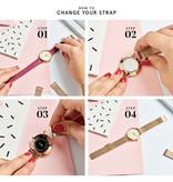 Cluse CL30013 Minuit Mesh Rose Gold White horloge