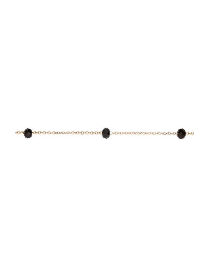 Cluse CLJ11013 - Essentielle Gouden Schakelarmband met Zwart Kristal