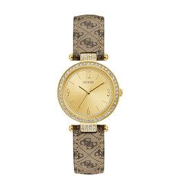 Guess Guess W1230L2 Horloge Ladies trend Goldplated leren band