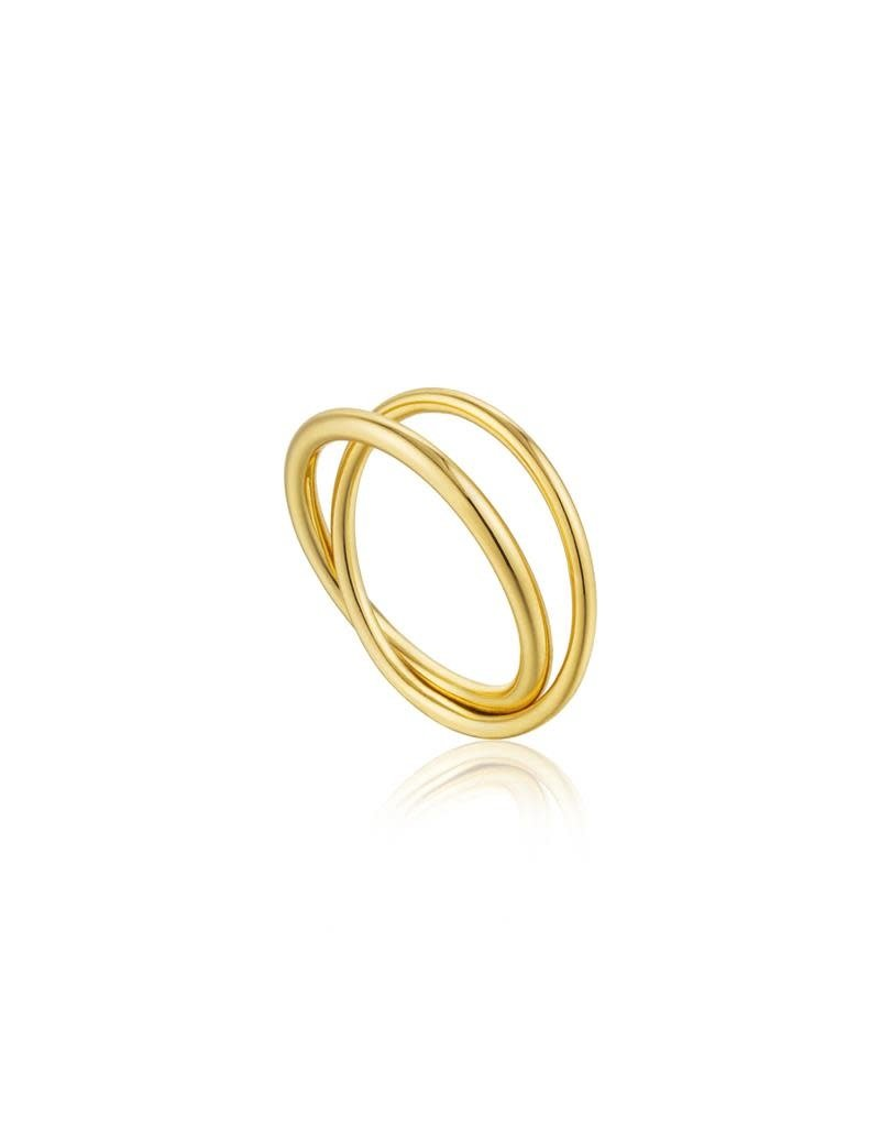 ANIA HAIE JEWELRY AH R002-01G-54 Ring Zilver double wrap goudkleurig