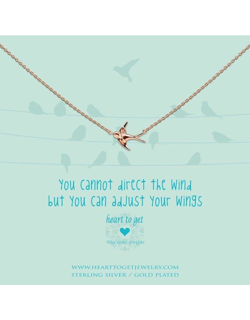 Heart to get HTG N287BIR16R Ketting Zilver rosé plated You cannot direct the wind but you adjust your wings
