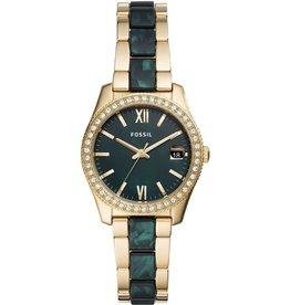 Fossil Fossil ES4676 Horloge Dames Staal Goudkleurig met Groen MOP