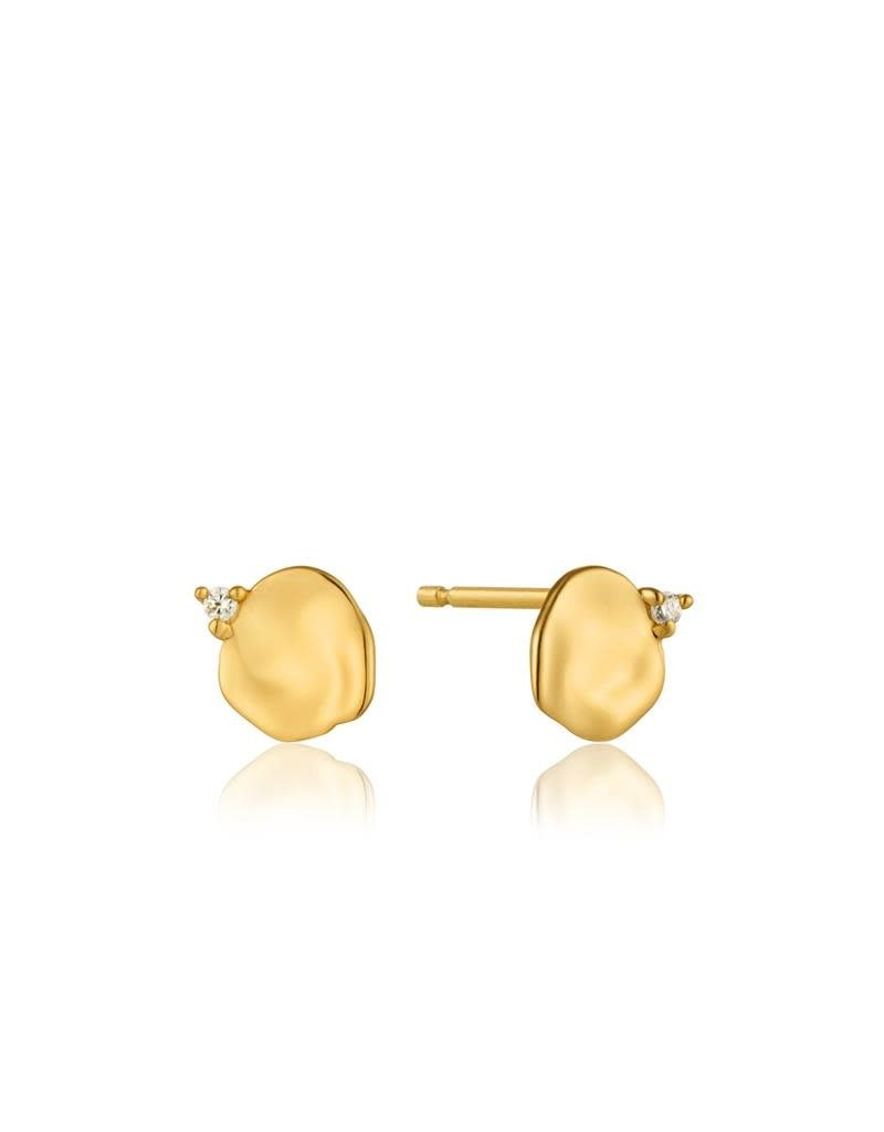 ANIA HAIE JEWELRY AH E017-01G Oorbellen Crush Disc Stud Zilver Goldplated