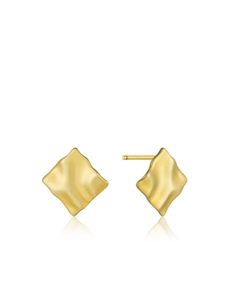 ANIA HAIE JEWELRY AH E017-05G Oorbellen Crush Mini Square Zilver Goldplated