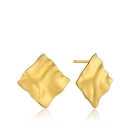 ANIA HAIE JEWELRY AH E017-03G Oorbellen Crush Square Zilver Goldplated 2,5x2,5cm