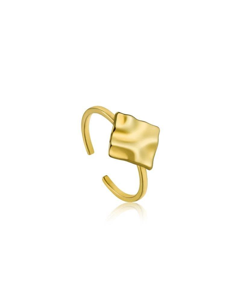 ANIA HAIE JEWELRY AH R017-02G Ring Crush square Zilver Goldplated verstelbaar