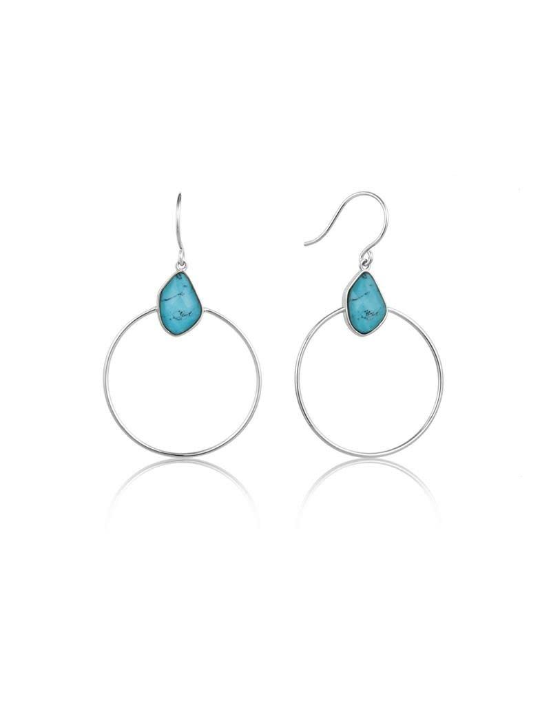 ANIA HAIE JEWELRY AH E014-02H Oorbellen Zilver Turquoise Front Hoop