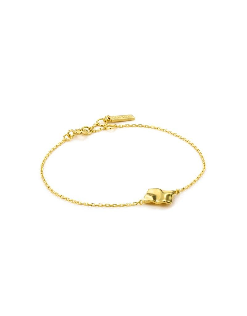 ANIA HAIE JEWELRY AH B017-02G Armband Zilver Goldplated Crush Square