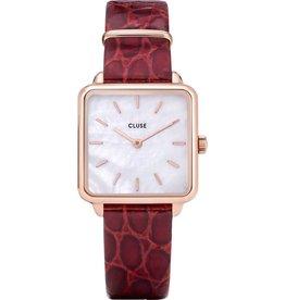 Cluse Cluse CW0101207029 Horloge La Tétragone Rosé, white Pearl, Dark red Alligator