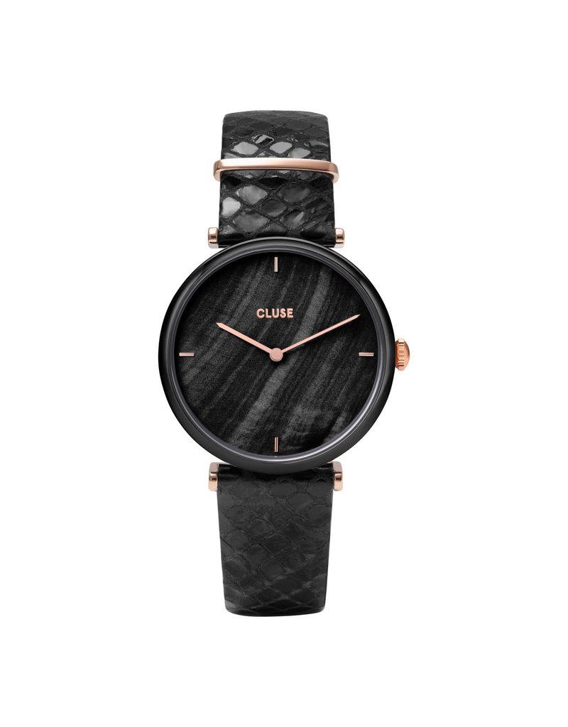 Cluse Cluse CW0101208012 Horloge Triomphe leather Black, Black Pearl/Black Python