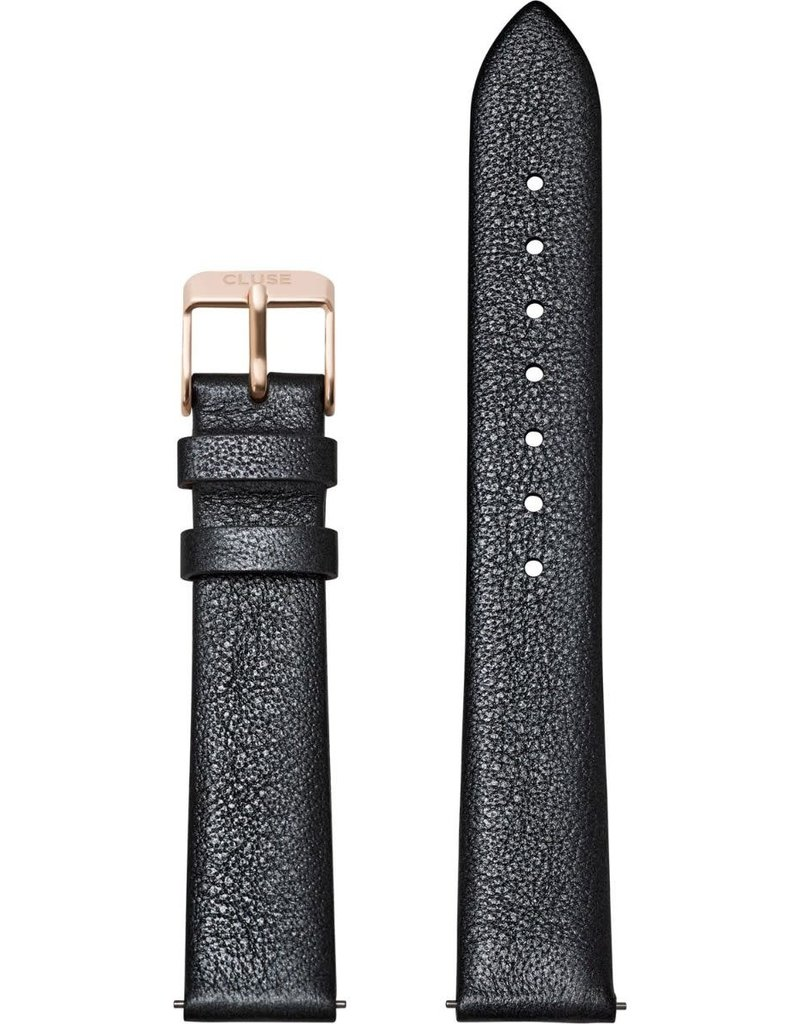 Cluse Cluse CS1408101054 horlogeband 16mm Leer Dark Grey Metallic/rose Gold
