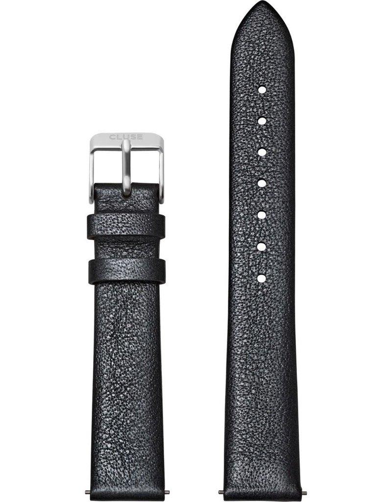 Cluse Cluse CS1408101059 horlogeband 18mm Leer Dark Grey Metallic/Silver
