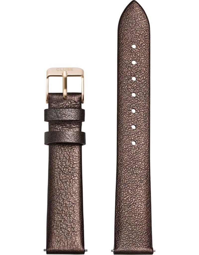 Cluse Cluse CS1408101051 horlogeband 16mm Leer Chocolate Brown metallic/Gold