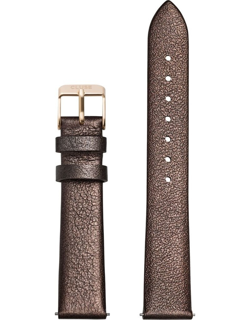 Cluse Cluse CS1408101057 horlogeband 18mm Leer Chocolate Brown metallic/Gold