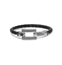 Buddha to Buddha BtoB 120BL D Armband Galang Leather Black Maat D (18cm)