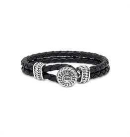 Buddha to Buddha BtoB 220BL D Armband Ben Leather Knot Black Maat D (18cm)