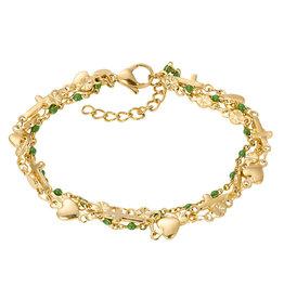 iXXXi iXXXi B00335-01 Armband Ghana Green BeadsGoud kleurig
