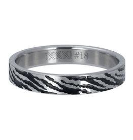 iXXXi iXXXi R05406-03 18 Ring Zebra Zilver kleurig Maat 18