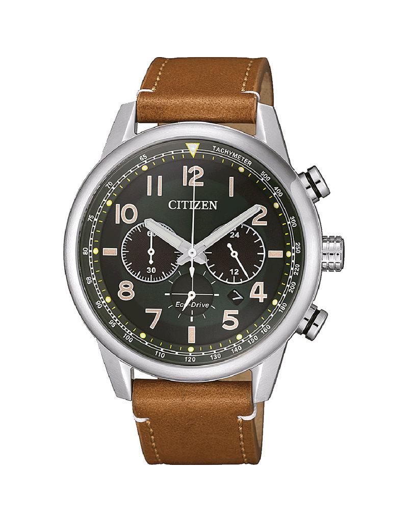 Citizen CA4420-21X Horloge Heren Ecodrive Chrono Leer Bruin