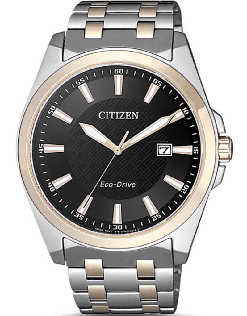 Citizen Citizen BM7109-89E Horloge Heren Ecodrive Staal/Rosé Zwart