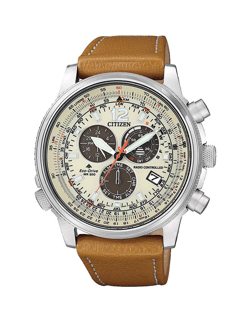 Citizen CB5860-35X Horloge Heren Ecodrive Radio Controlled Leer Bruin