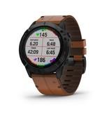 Garmin Exclusive Garmin 010-02157-14 Smartwatch Fenix 6X, Sapphire Black DLC, Brown leather
