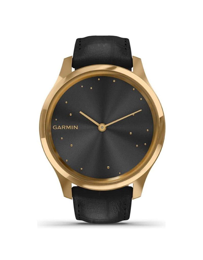 Garmin Exclusive Garmin 010-02241-02 Vivomove de Luxe, Pure Gold met zwart Lederen band en Sapphire glas