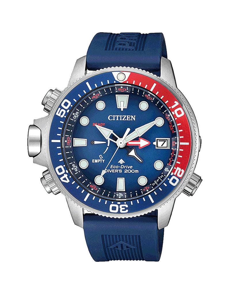 Citizen BN2038-01L Horloge Promaster Diver met Band  verlenger Blauw/Rood