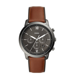 Fossil Fossil FS5512 Horloge Heren Staal zwart met bruin leren band