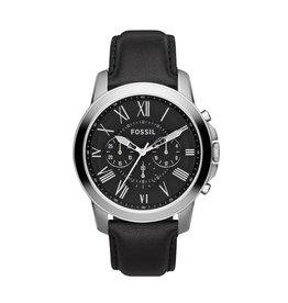 Fossil Fossil FS4812IE Horloge Heren Chrono Staal met zwart leren band