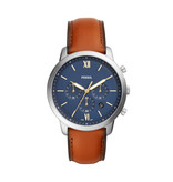 Fossil Fossil FS5453 Horloge heren Staal Blauw Chrono met bruin leren band
