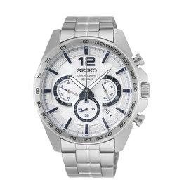 Seiko Seiko SSB343P1 Horloge Heren Chrono Staal Wit