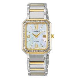 Seiko SUP428P1 Dames Horloge Solar Staal Bicolourmet Zirkonia