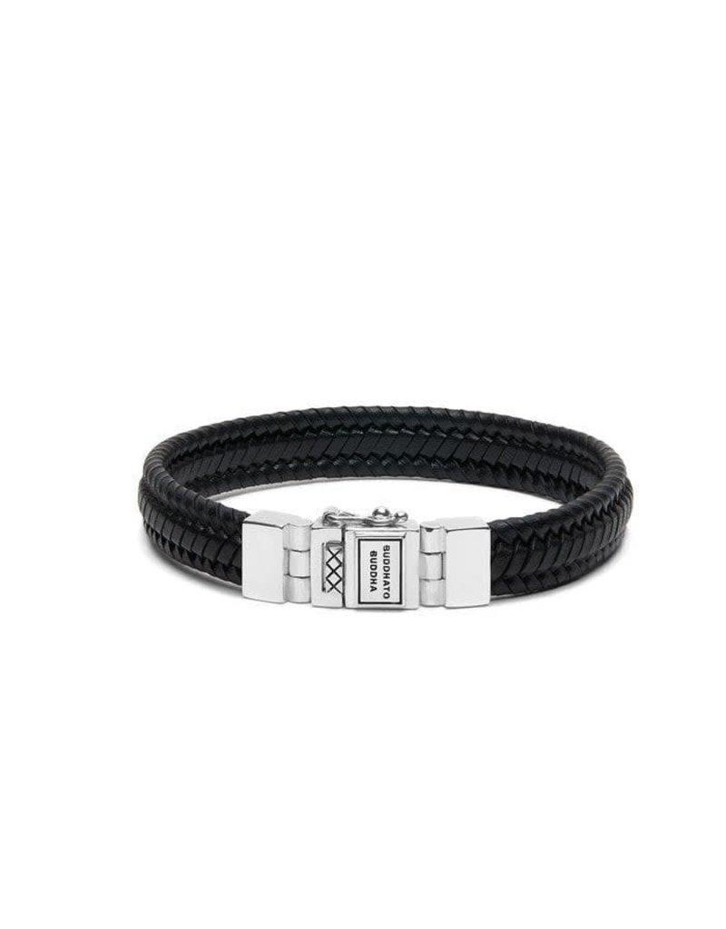 Buddha to Buddha BtoB 181BL G Armband Edwin Small Leather Black - Size G - 23CM