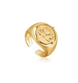 ANIA HAIE JEWELRY AH R020-03G Ring Seljuks Signet adjustable Zilver goudkleurig