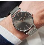 Cluse Cluse CW0101501003 heren horloge 40 mm staal 3h grijze wijzerplaat met rosé accenten en stalen band