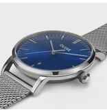 Cluse Cluse CW0101501004 Stalen heren horloge 40 mm met blauwe sunray wijzerplaat en stalen accenten stalen Mesh band
