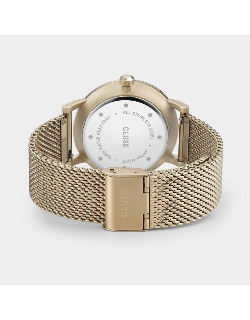Cluse Cluse CW0101501006 Heren horloge 40 mm goldplated  met sunray groende wijzerplaat met geelgouden accenten