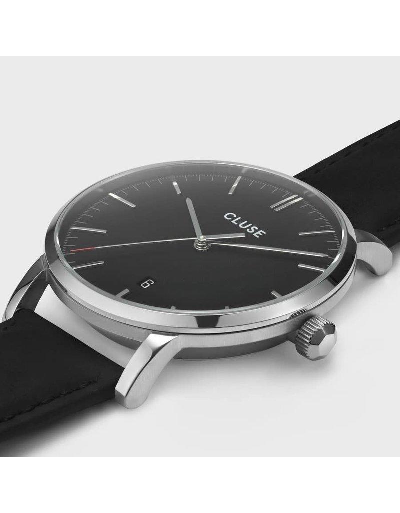 Cluse Cluse CW0101501001 stalen 40 mm heren horloge met zwarte wijzerplaat met stalen accenten met zwart leren band.