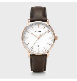 Cluse Cluse CW0101501002 40 mm heren horloge met goldplated kast witte wijzerplaat met gouden accenten en bruin leren band