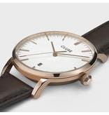 Cluse Cluse CW010151002 40 mm heren horloge met goldplated kast witte wijzerplaat met gouden accenten en bruin leren band