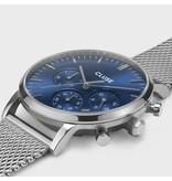 Cluse Cluse CW0101502004 40 mm Stalen heren horloge chronograaf met sunray blauwe wijzerplaat en stalen band